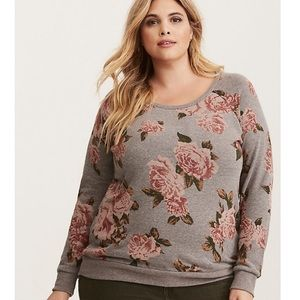 Torrid Floral Gray and Pink Sweatshirt sz 6X